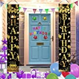 Latoy Happy Birthday Banner, Birthday Party Decorations Supplies, Porch Signs for Home Wall Indoor Outdoor 2pcs