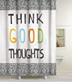 Lisa Weedn Think Good Thoughts Fabric Shower Curtain, Black, 70-Inch X 72-Inch