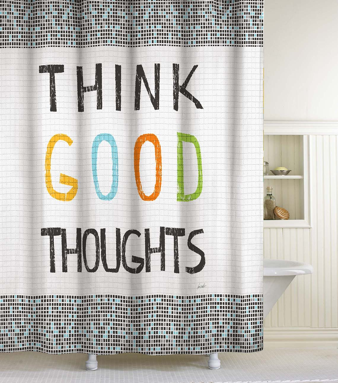 "Lisa Weedn Think Good Thoughts Fabric Shower Curtain, Black, 70-Inch X 72-Inch - Inspirational shower curtain features a tile motif and the uplifting words ""think good thoughts"" Made of 100% polyester taffeta fabric Measures 70 in. Wide x 72 in. Long - shower-curtains, bathroom-linens, bathroom - 81URwWoi%2BOL -"