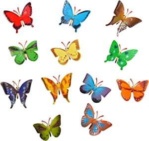 Plastic Fake Butterflies Bendable 24 Pack | for Butterfly Birthday Party Decorations Supplies, Party Favors, Cupcake Topper, Butterfly Decor by 4E's Novelty