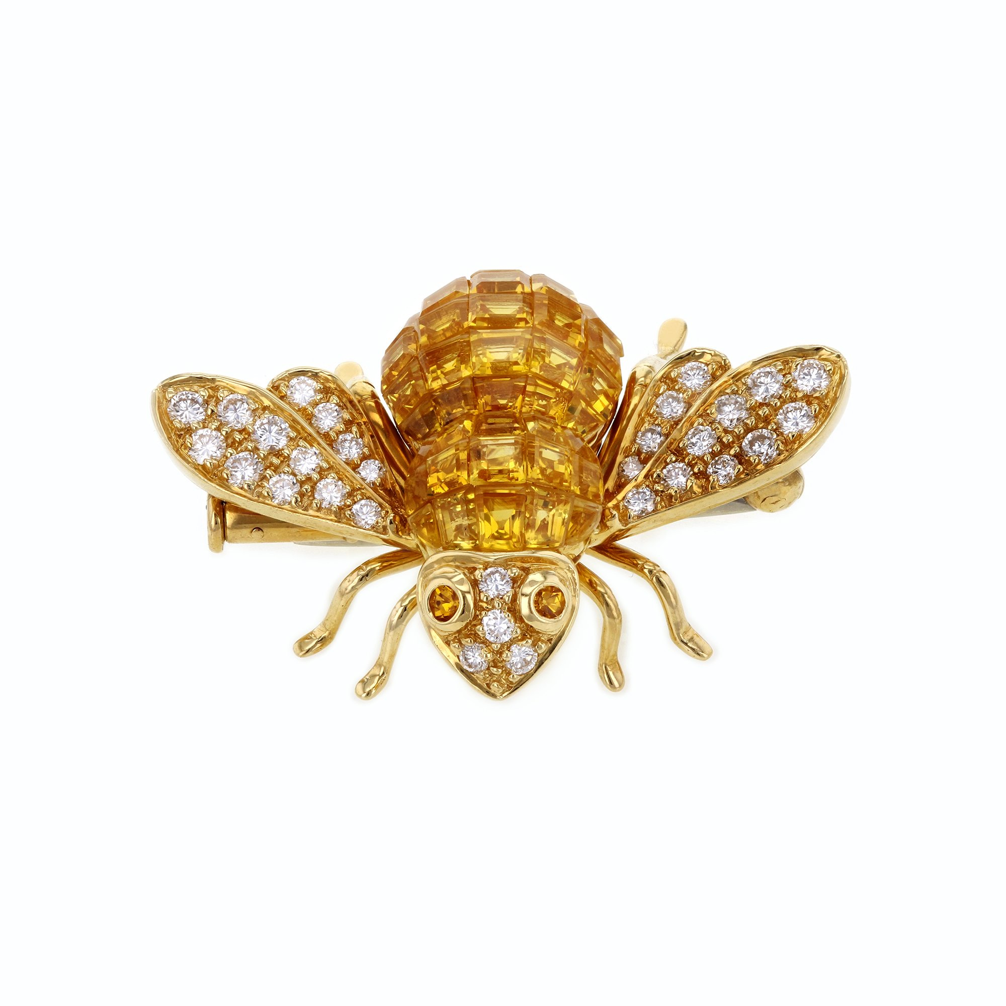 Sabbadini Gioielli Yellow Sapphire and Diamond Bee Brooch 5 Carats TGW 18k Yellow Gold - Italian Fine Jewelry