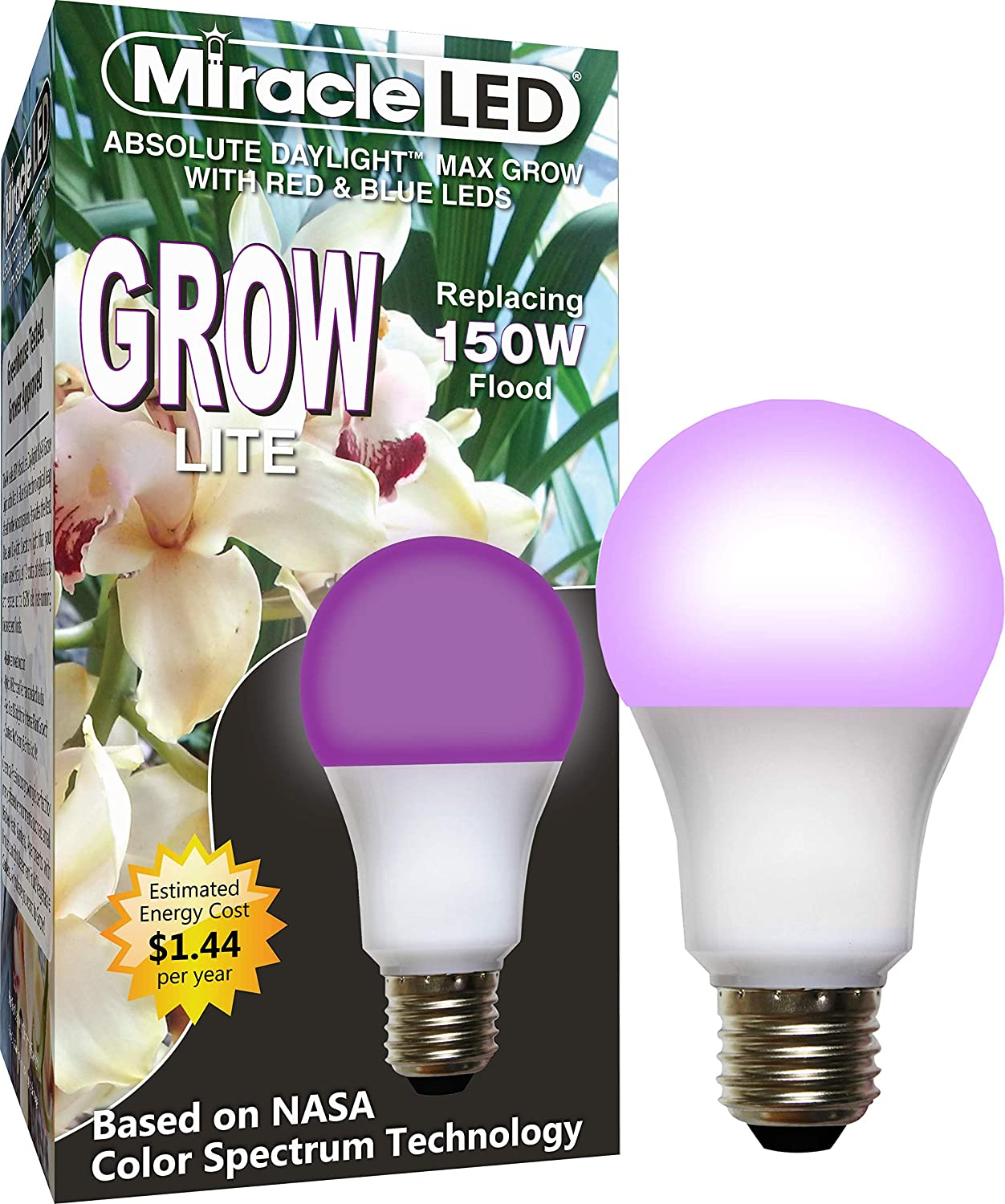 Miracle LED 605186 LEDs 12W Absolute Daylight MAX Grow Lite with Red & Blue Single Pack Box, Purple