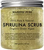 Majestic Pure Spirulina Body Scrub, Natural Skin Care with Vitamin E and Dead Sea Salt, Fights Acne, Softens and Cleanses Skin, 12 oz