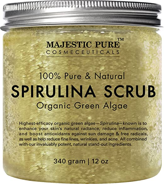 Spirulina Body Scrub from Majestic Pure, Natural Skin Care with Vitamin E and Dead Sea Salt, Fights Acne, Softens and Cleanses Skin, 12 oz