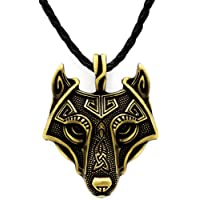 Unique Antique Bronze Viking Wolf Pendant Head Necklace Genuine Leather
