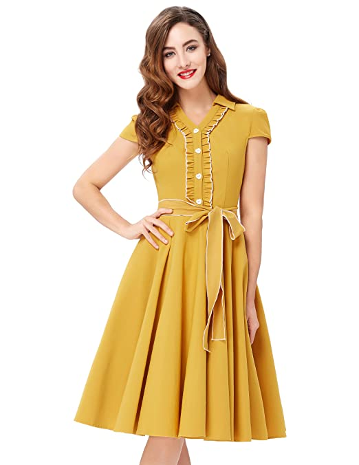 50s Costumes | 50s Halloween Costumes JS Fashion Vintage Dress Belle Poque Womens V-Neck Stretchy Swing Vintage Dress BP167 $29.99 AT vintagedancer.com