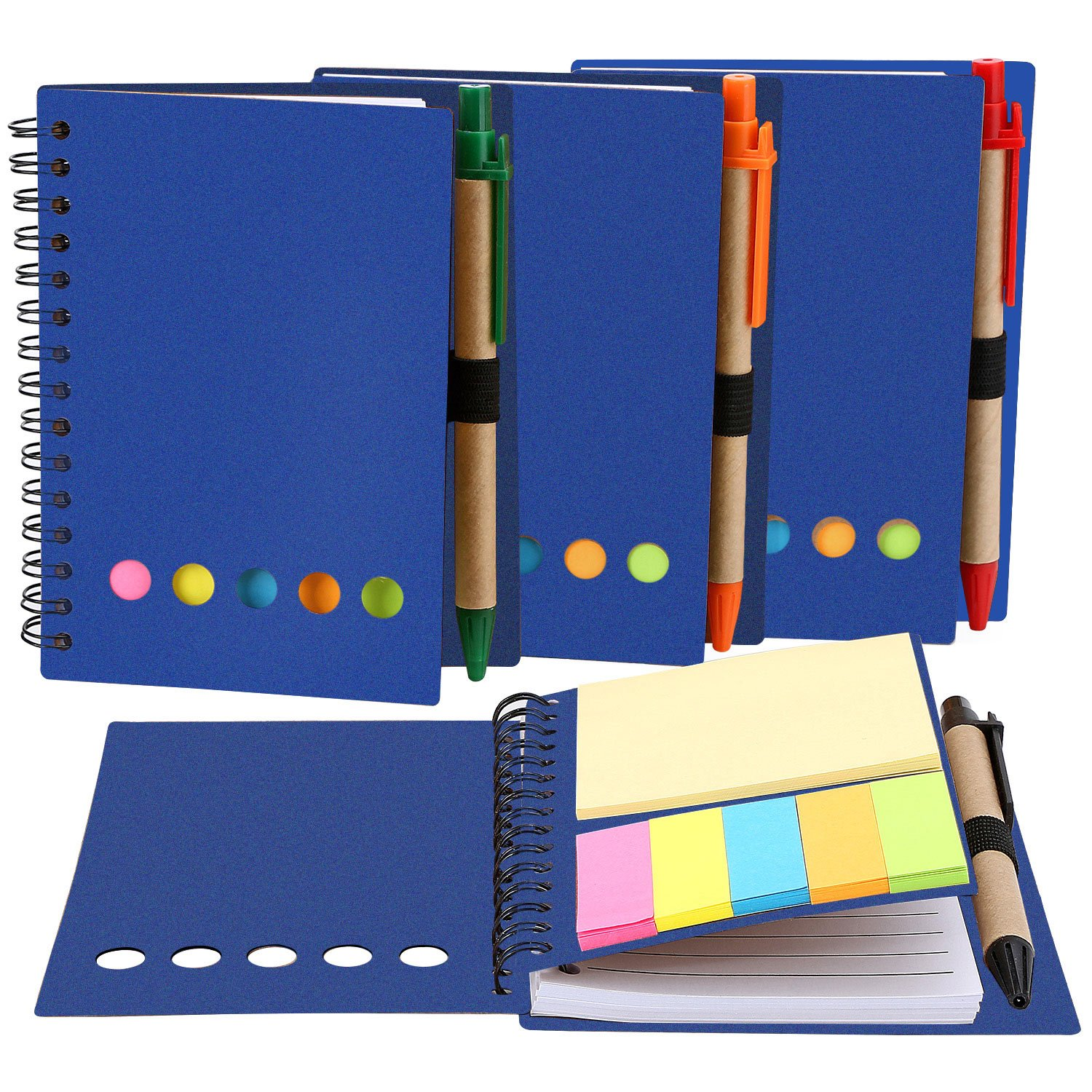 Mtlee 4 Pack Spiral Notebook Lined Notepad with Pen in Holder and Sticky Notes, Page Marker Colored Index Tabs Flags (Blue Cover)