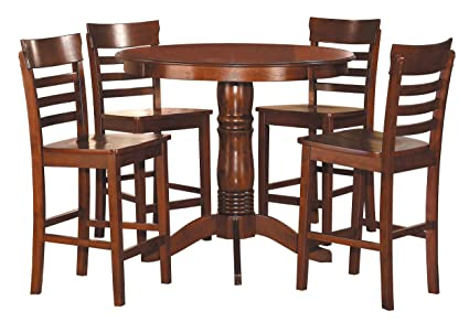 amazon com homelegance wayland 5 piece counter height round dining