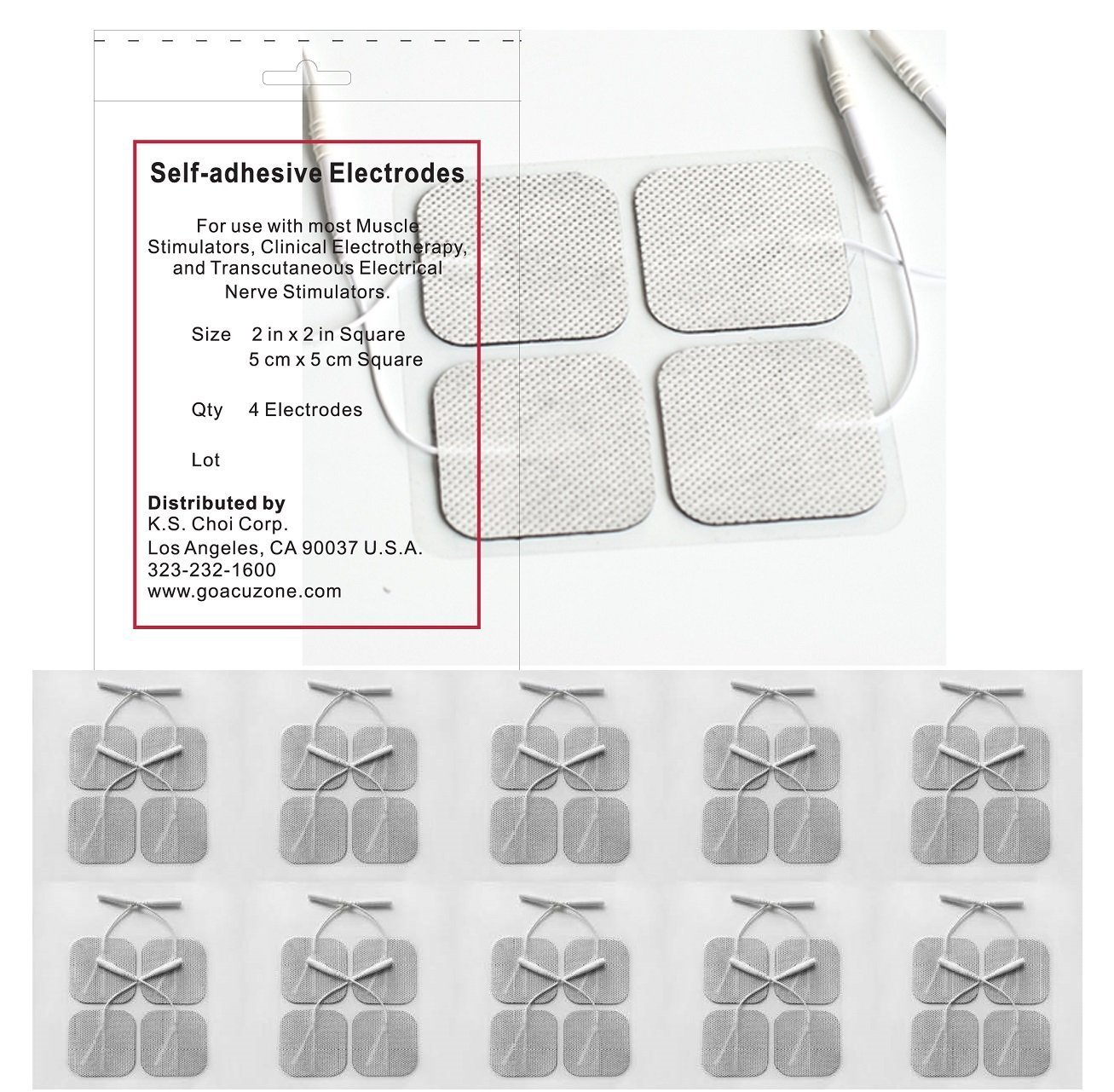"Angel Premium TENS/EMS Unit 40 Electrode Pads 2""x2"" in. Reusable Self Stick Gel Carbon Electrodes"