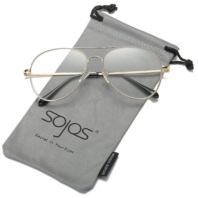 Gafas transparentes de aviador clásicas. Buena calidad y opción de colores de lentes.