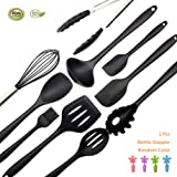 Silicone Kitchen Utensil Set of 11 Cooking Item Non-Stick and Anti-Bacteria BPA-free and heat resistant For Cooking Baking and Grill By Bellagione (Black)