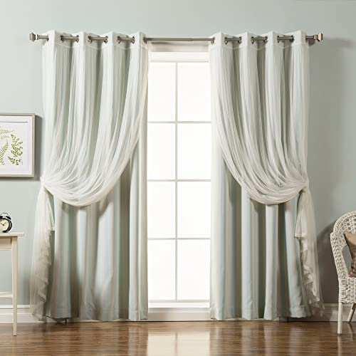 Reviewed: Best Home Fashion Mix Match Tulle Lace Vertical Stripe Room Darkening 4 Piece Curtain Set Stainless Steel Nickel Grommet Top Mint 52″ W x 84″ L Set of 4 Panels