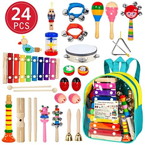 amazon com ailuki toddler musical instruments 24pcs 17 types wooden