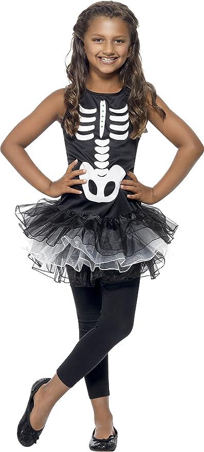 SmiffyS 43029M Disfraz De Esqueleto Con Tutú Con Vestido Con Tutú Estampado, Negro, M - Edad 7-9 Años