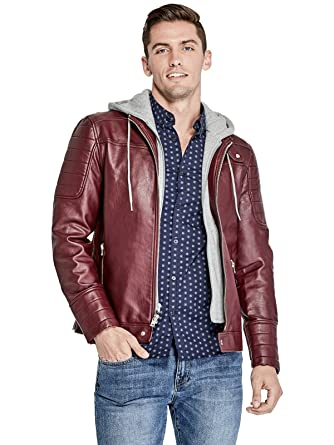 Guess Factory Men S Donato Faux Leather Hooded Moto Jacket At Amazon