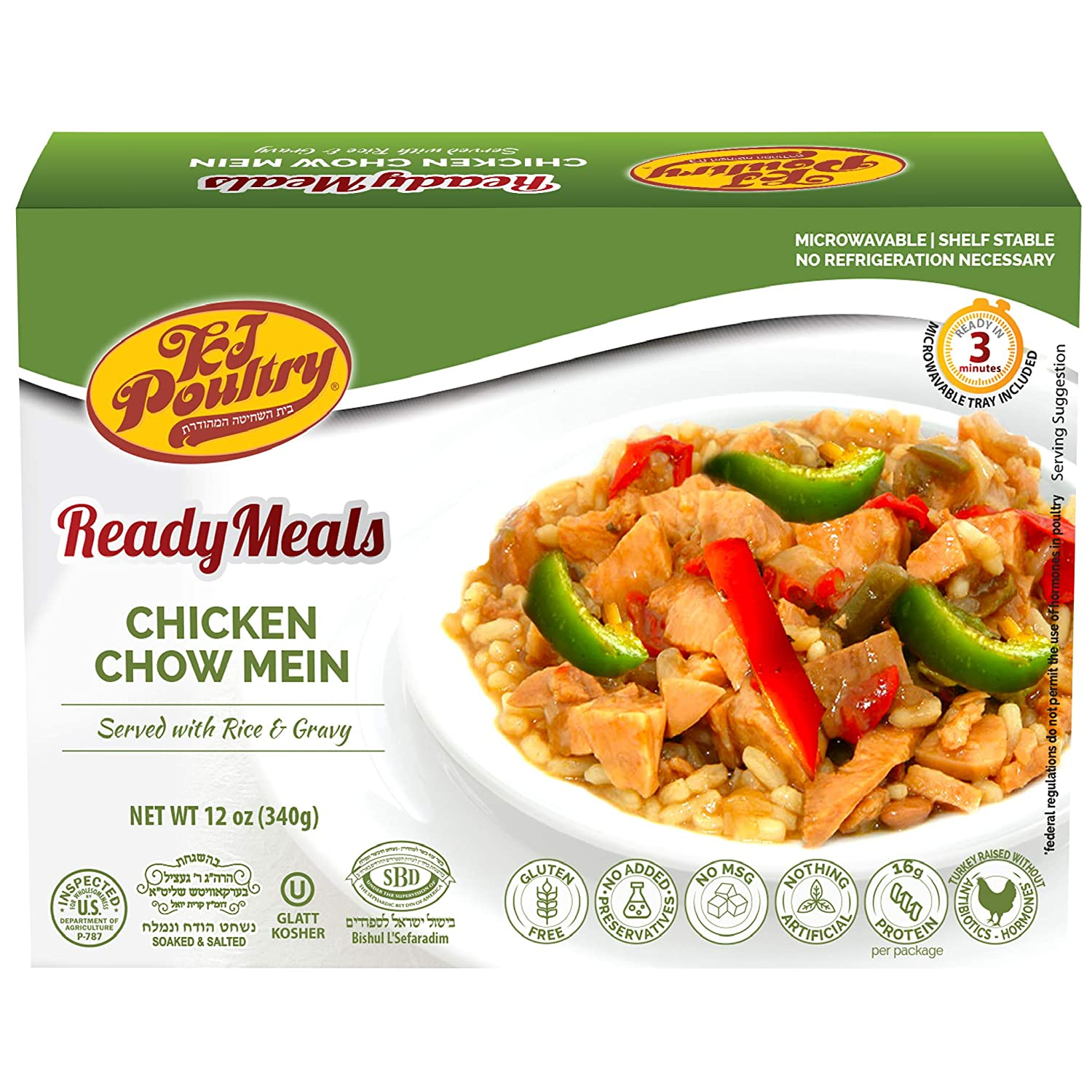 Kosher Mre Meat Meals Ready to Eat, Gluten Free Chicken Chow Mein (1 Pack) - Prepared Entree Fully Cooked, Shelf Stable Microwave Dinner – Travel, Military, Camping, Emergency Survival Canned Food