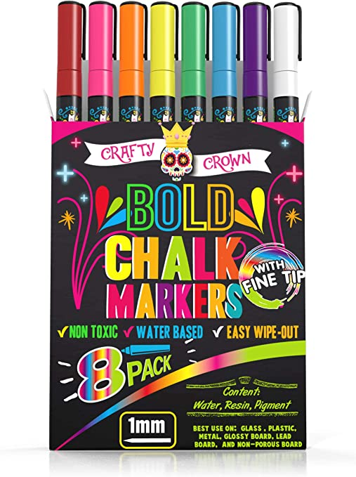 Chalk Markers Fine Tip - Bold Color Dry Erase Marker Pens - Liquid Chalk Markers for Chalkboards, Signs, Windows, Blackboard, Glass - 1mm Tip (8 Pack) - 24 Chalkboard Labels Included