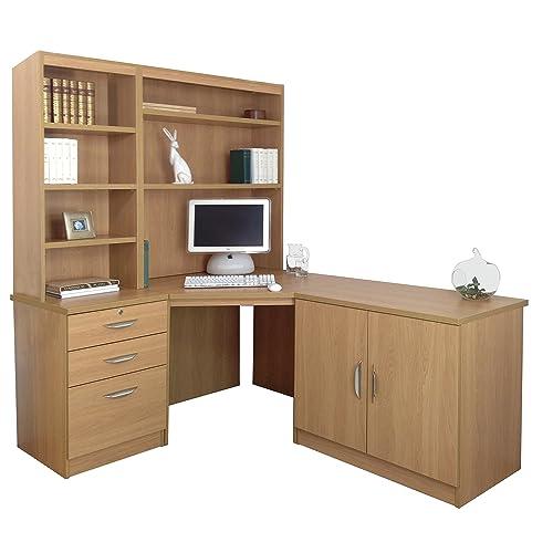 Home Office Furniture UK Wood Grain Profile Computer Desk/Hutch/Bookcase  Set, Wood
