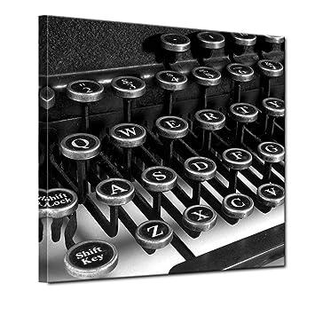 """Bilderdepot24 Cuadros en Lienzo """"Máquina de escribir"""" 100x100 cm - listo tensa,"""