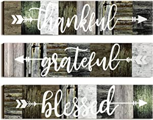 Jetec 3 Pieces Thankful Grateful Blessed Wooden Signs Rustic Wood Arrow Hanging Plaque Sign Wall Art Decor for Farmhouse Entryway Outdoor Decor, 13 x 3 Inch (Mixed Colors)
