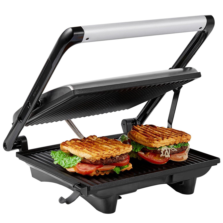 aicok panini press grill panini maker sandwich maker with 11 6 x 10 4 ebay. Black Bedroom Furniture Sets. Home Design Ideas