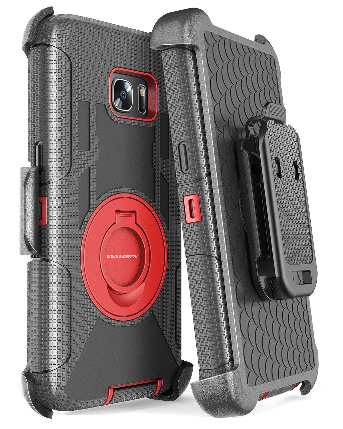 Galaxy S7 Edge Case, BENTOBEN Heavy Duty Shockproof Full Body Rugged Hybrid Protective Case for Samsung Galaxy S7 Edge with Kickstand Belt Clip Holster Cover, Black/Red by BENTOBEN