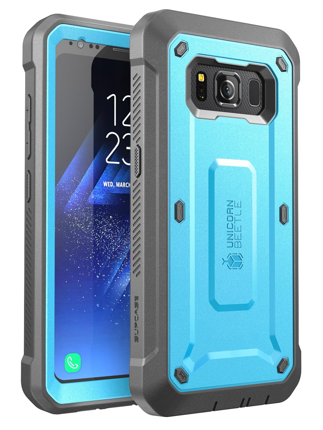 SupCase Galaxy S8 Active Case, [Unicorn Beetle PRO Series] Full-Body Rugged Holster Case with Built-in Screen Protector for Samsung Galaxy S8 Active (Not Fit Regular Galaxy S8/S8 Plus) (Blue/Gray)