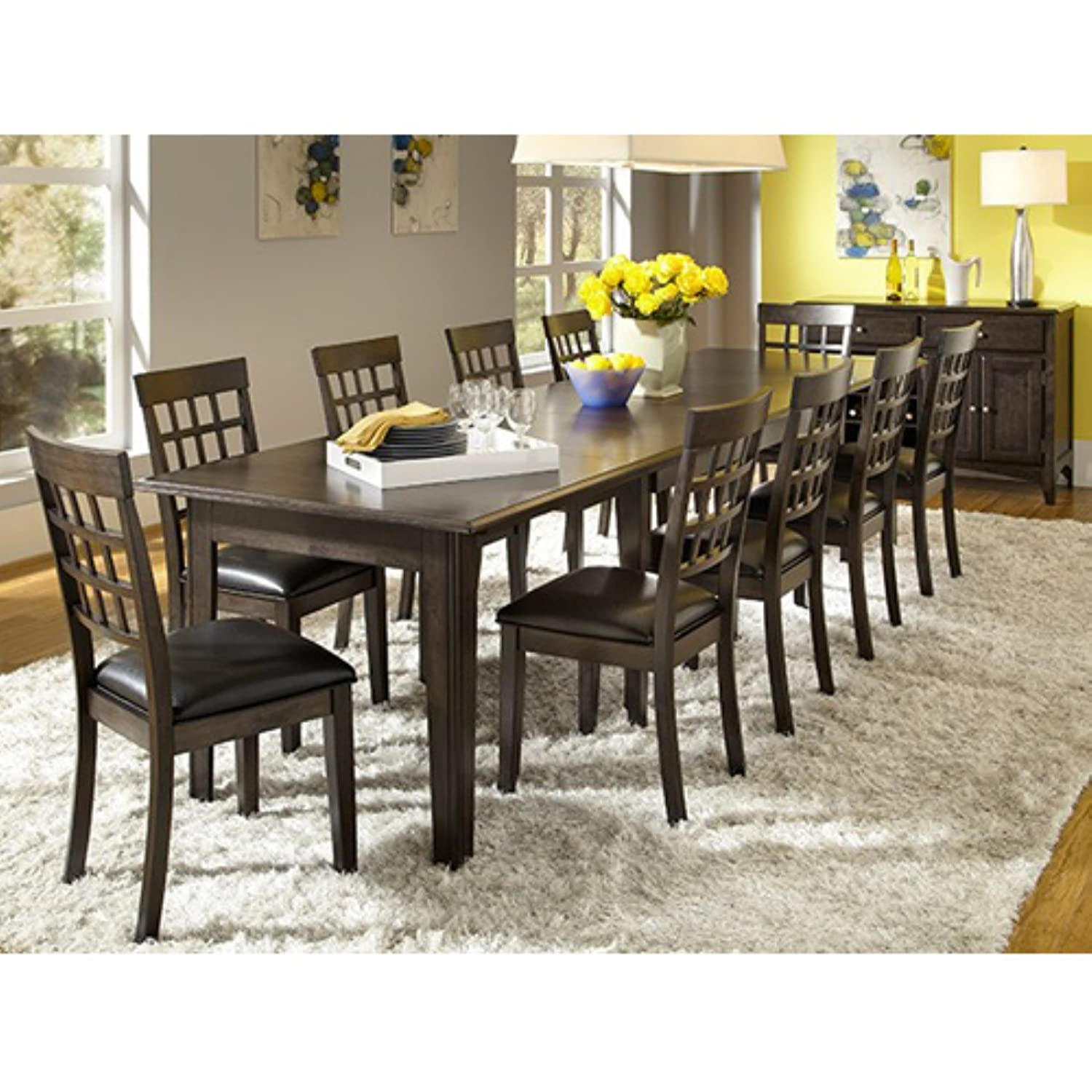 Amazon a america bristol point 132 rectangular dining table amazon a america bristol point 132 rectangular dining table with 3 24 leaves warm grey kitchen dining workwithnaturefo