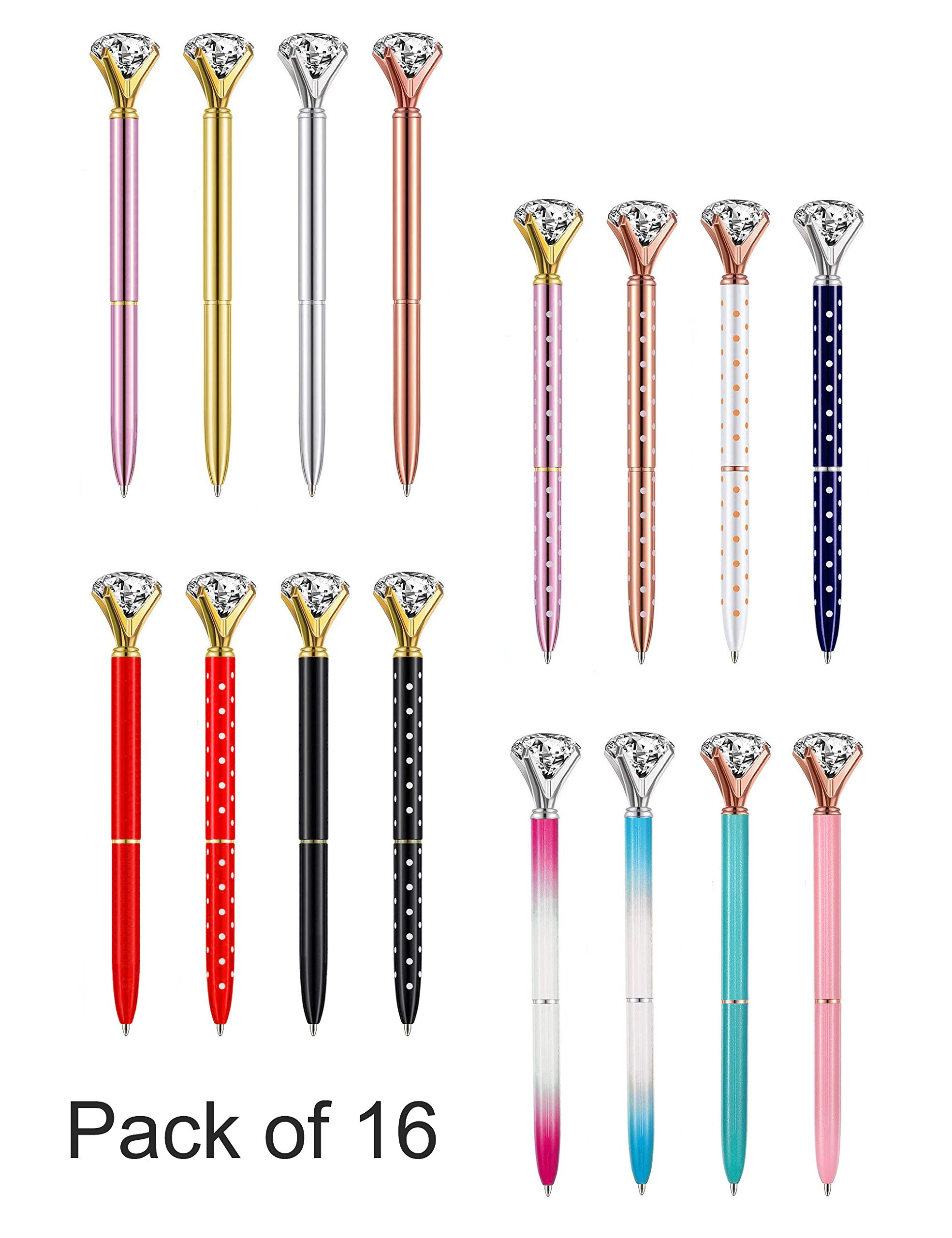 Diamond Pens CuteBallpoint Pens Diamond Pen Office SuppliesDécorGifts for Women Bridesmaid CoworkersRose GoldCool FunFancyNoveltyCrystal Metal School Desk Accessories Black Ink Pack of 16