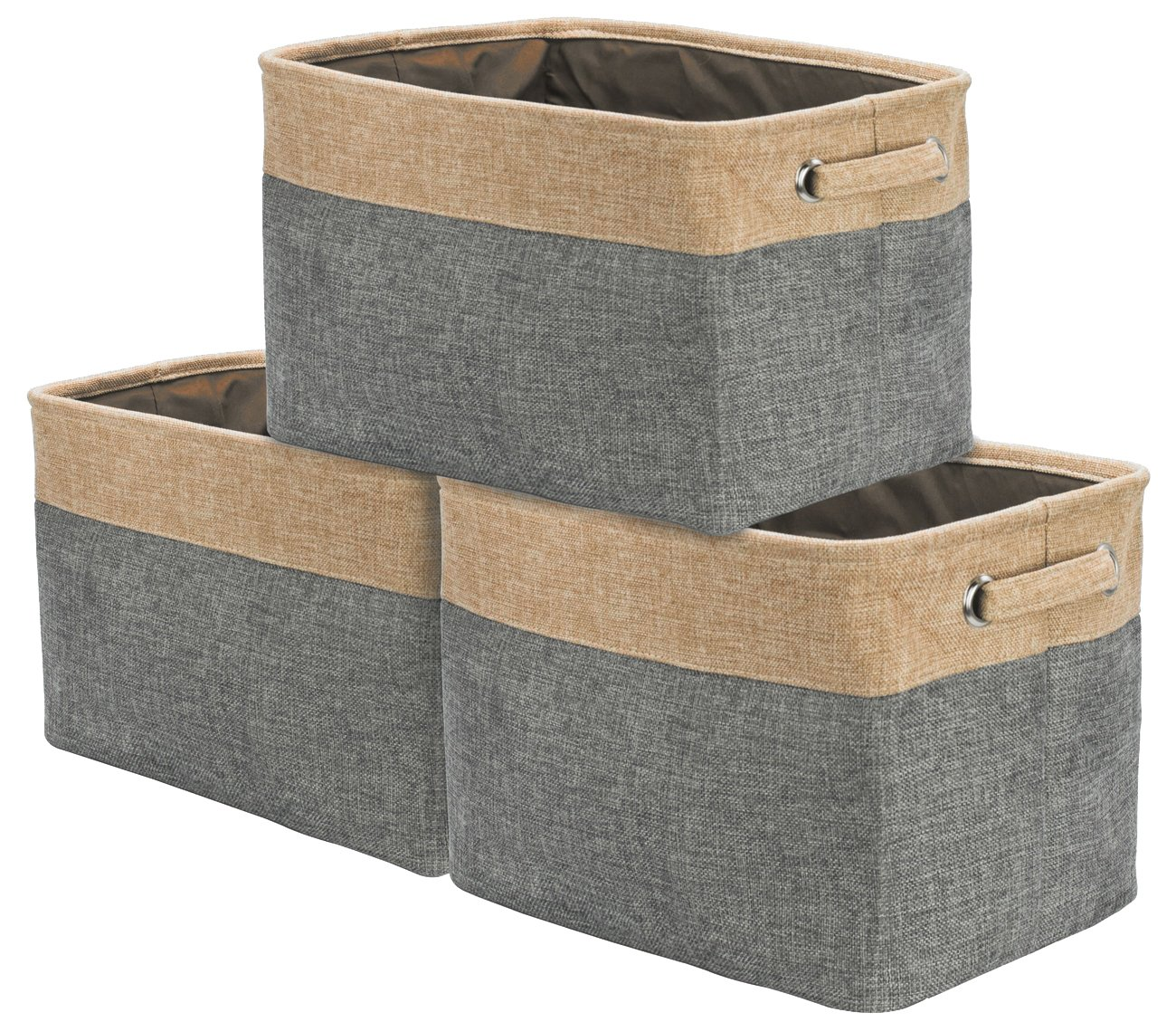 Sorbus Storage Large Basket Set [3-Pack] - 15 L x 10 W x 9 H - Big Rectangular Fabric Collapsible Organizer Bin Box with Carry Handles for Linens, Towels, Toys, Clothes, Kids Room, Nursery (Grey/Tan)