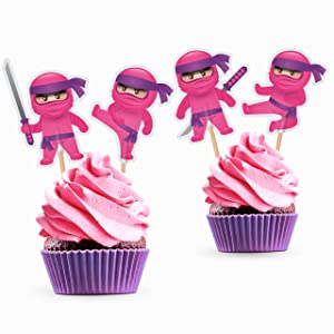 Girl Ninja Cupcake Toppers - Pink Ninja Birthday Party Decorations Supplies Karate Themed for Girls - 24 PCS