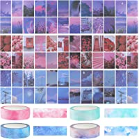 150 Pieces Washi Paper Sticker Beautiful Scenery Rose with 4 Rolls Washi Tapes for Scrapbooking Diary Planner Album…