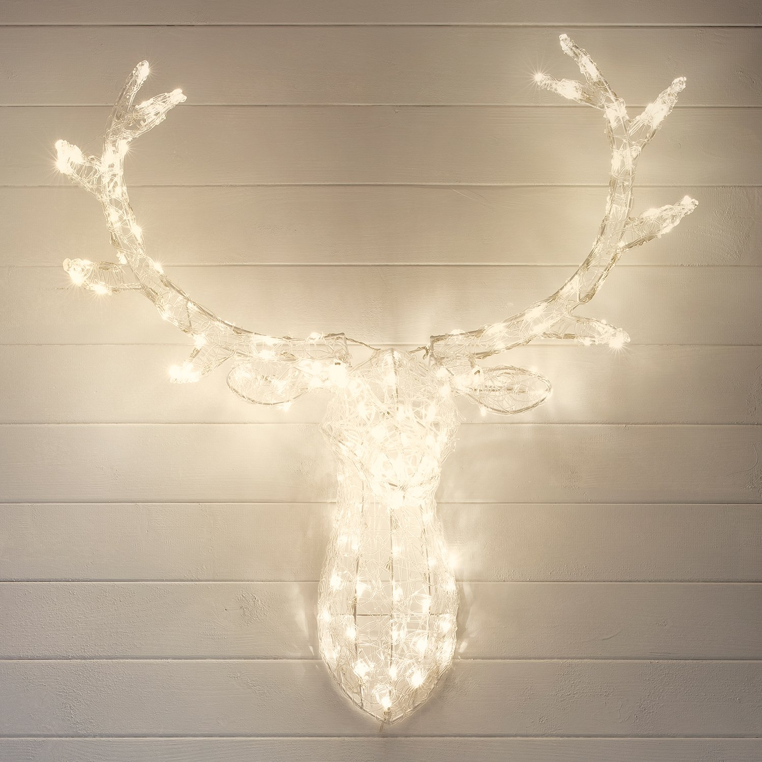 Stag head christmas light with 140 warm white leds for indoor stag head christmas light with 140 warm white leds for indoor outdoor use by lights4fun amazon kitchen home mozeypictures Gallery