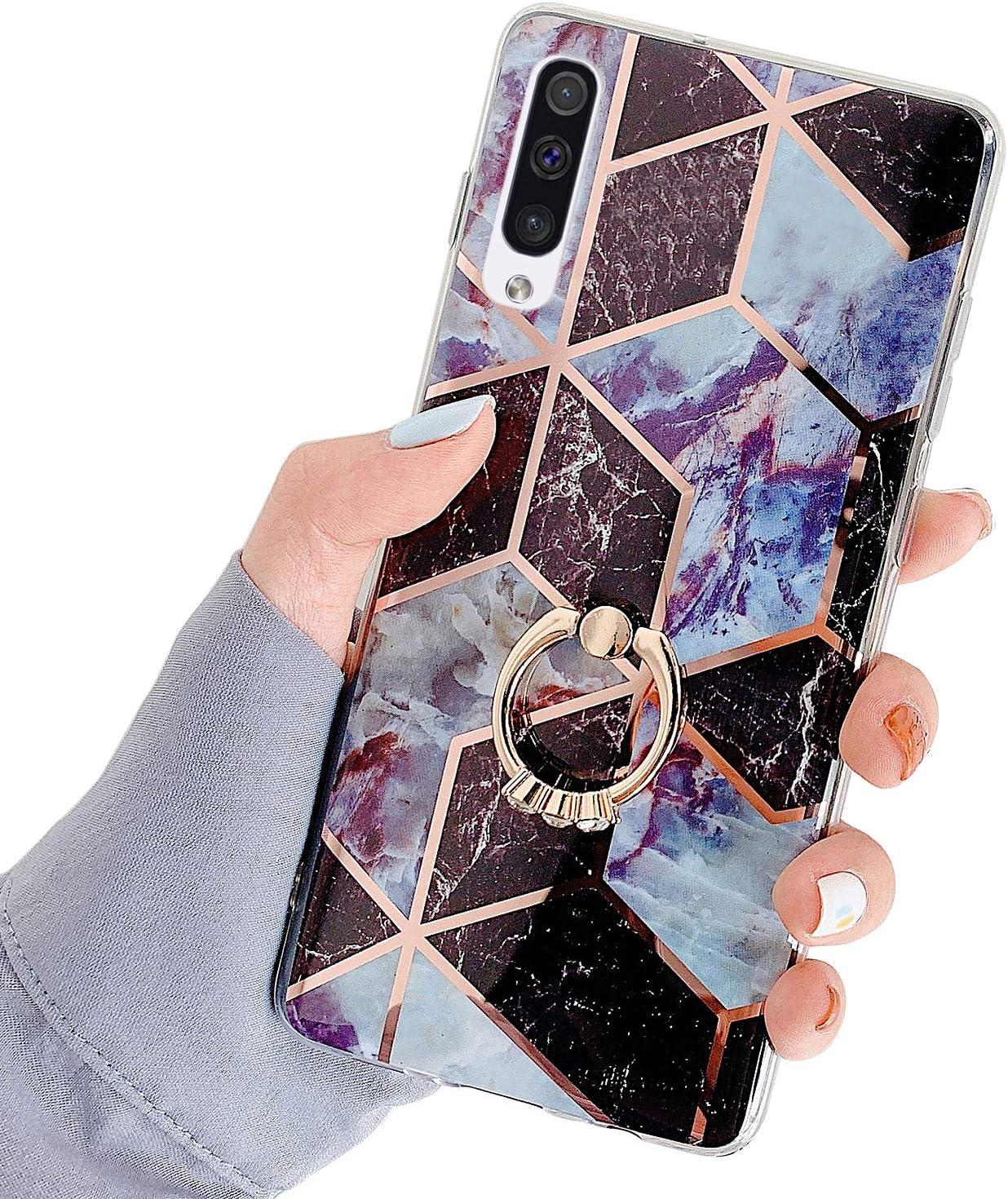 Robinsoni Funda Compatible con Samsung Galaxy A70 Funda Silicona Funda con Anillo Vistoso M/ármol Espejo Funda Brillar Caso Soporte de Anillo con Brillo Carcasa Flexible Ultra Delgado Funda Azul
