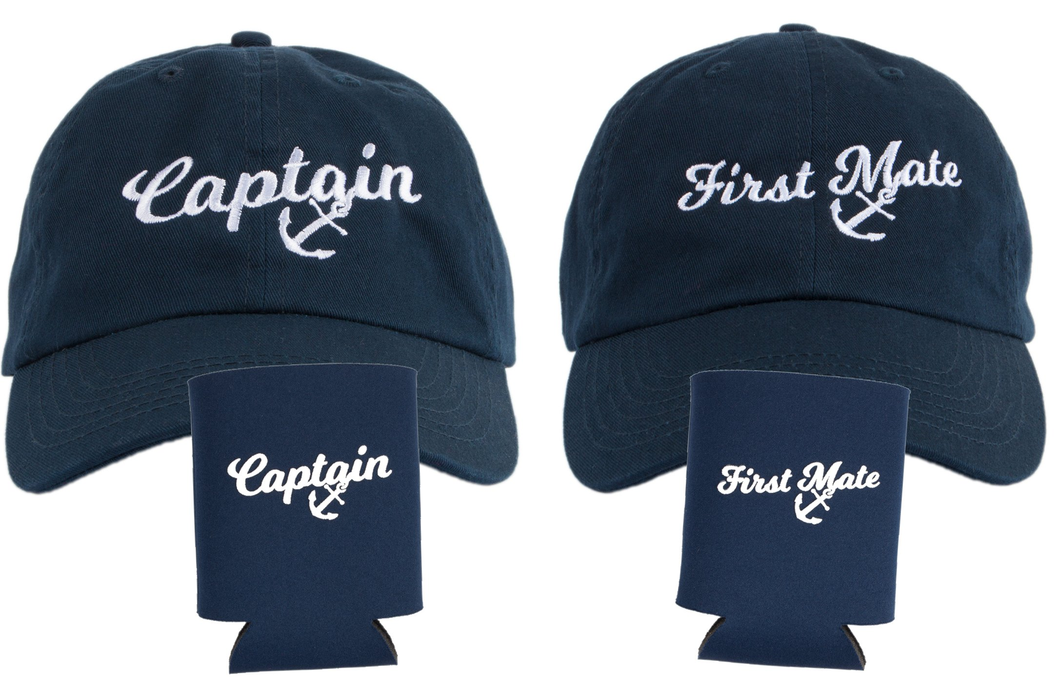 Captain Hat & First Mate | Matching Skipper Boating Baseball Caps & Beer Holders Navy by Ann Arbor T-shirt Co.
