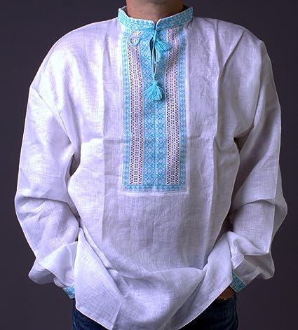 c7d14cd866 Amazon.com  Hand Mens White Vyshyvanka Linen Shirt Turquoise ...