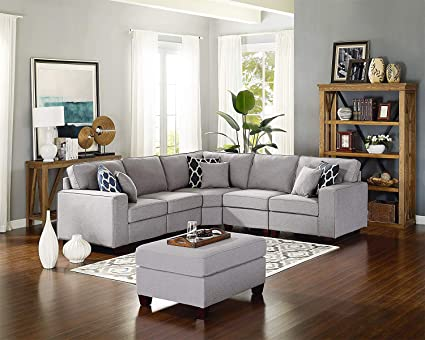 Miraculous 6 Piece Modern Style Linen Fabric Sectional Sofa L Shape Couch With Ottoman Reclining Backrest Living Room Office Furniture Free Combination Set Pabps2019 Chair Design Images Pabps2019Com