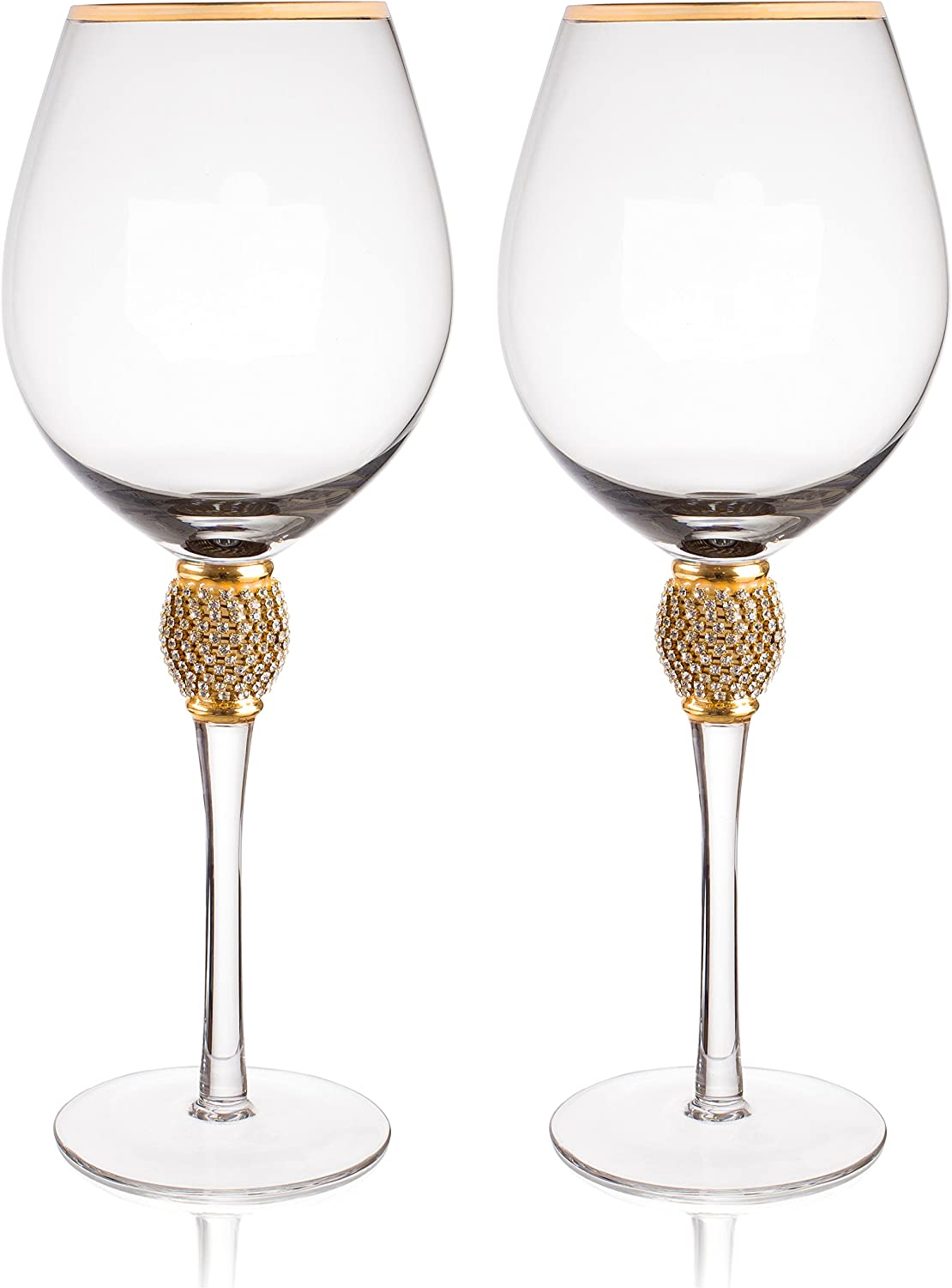"Trinkware Gold Rimmed Wine Glasses Set of 2 - Rhinestone Champagne Flutes""DIAMOND"" Studded - Long Stem, 16oz, 10-inches Tall – Elegant Glassware And Stemware"