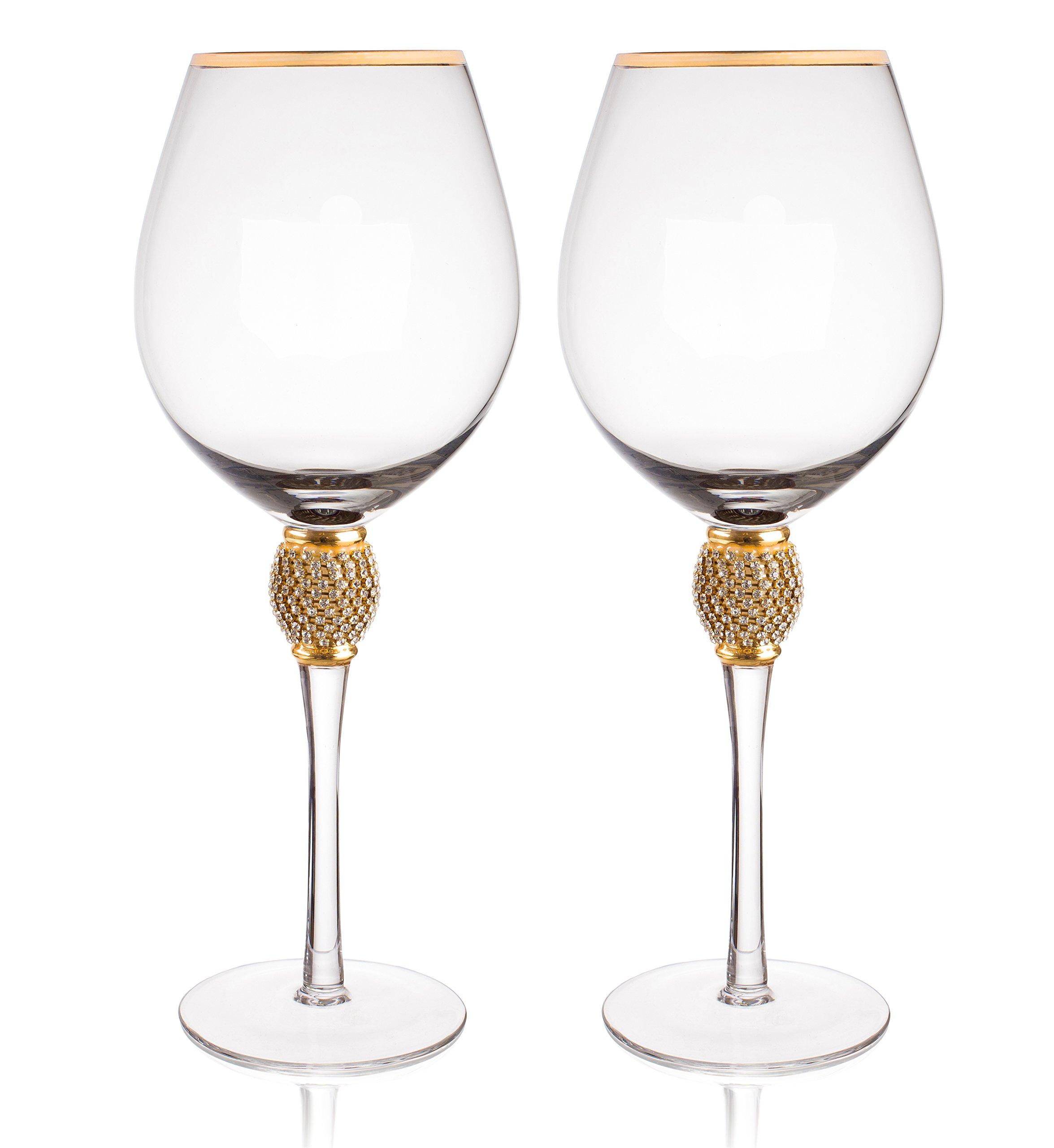 Rhinestone Studded ~ Wedding /& Parties Set Of 2 New  /'Trinkware/' Wine Glasses