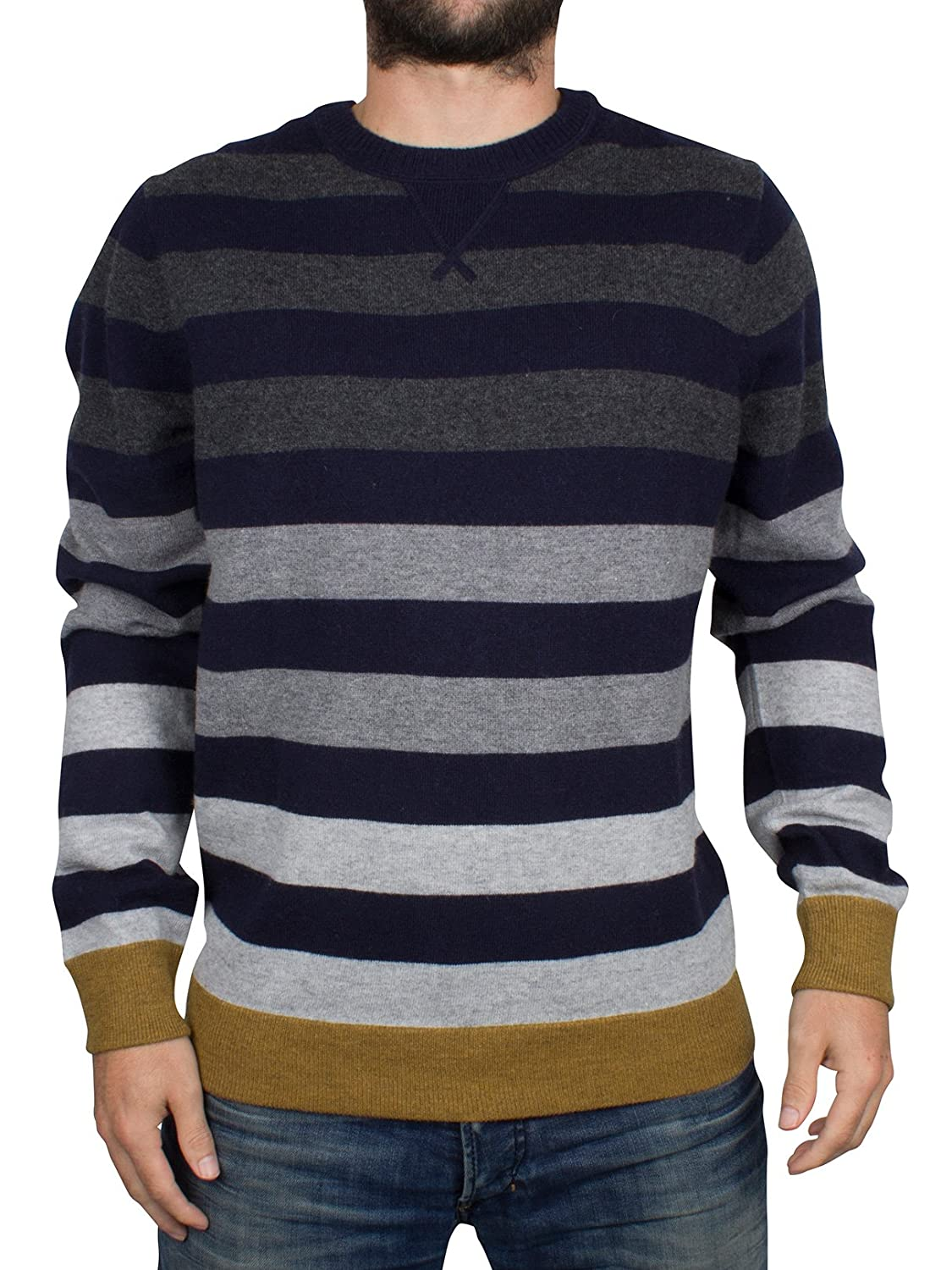 Tommy Hilfiger Brian Crew Neck Stripe Jumper In Navy