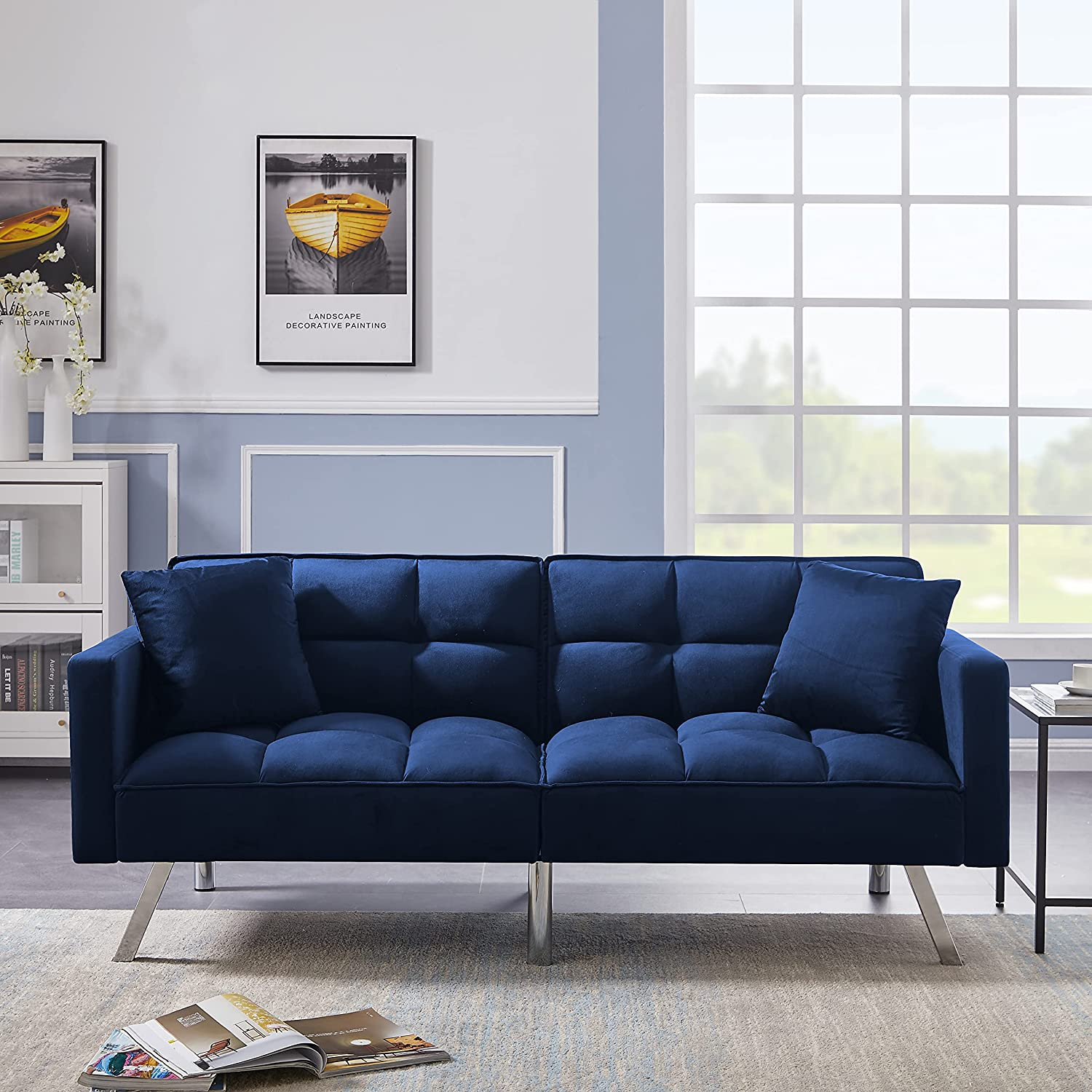 Futon Sofa Bed, Convertible Sleeper Sofa Velvet Futon with 2 Pillows, Modern Loveseat Couch Furniture with Armrests Metal Legs for Living Room, Bedroom, Apartment and Small Space (Navy Blue)