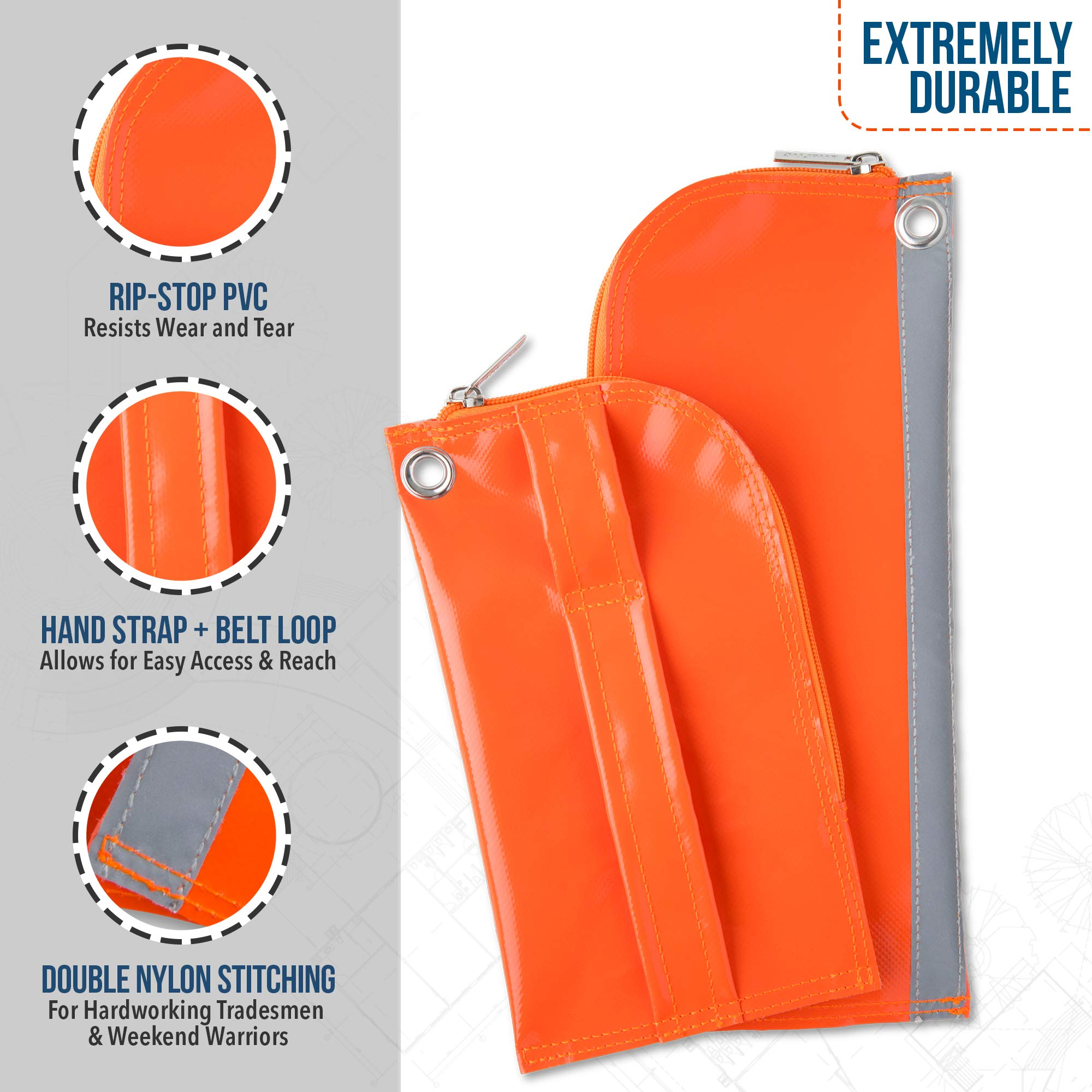 Heavy Duty Zipper Tool Pouch, 2 Pack, 12inch and 9inch - Waterproof, Lightweight, Multipurpose Utility Bag Carry Case For Small Tools - Storage Pouches, Accessories for Work Belts - PVC, Canvas by TUFLUG (Image #4)
