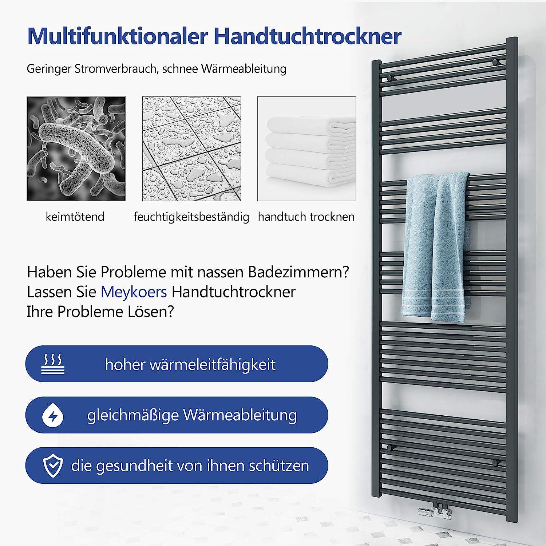 ELEGANT Heizk/örper Bad 1800x400 mm Anthrazit Badheizk/örper Mittelanschluss Handtuchw/ärmer Handtuchtrockner Heizk/örper