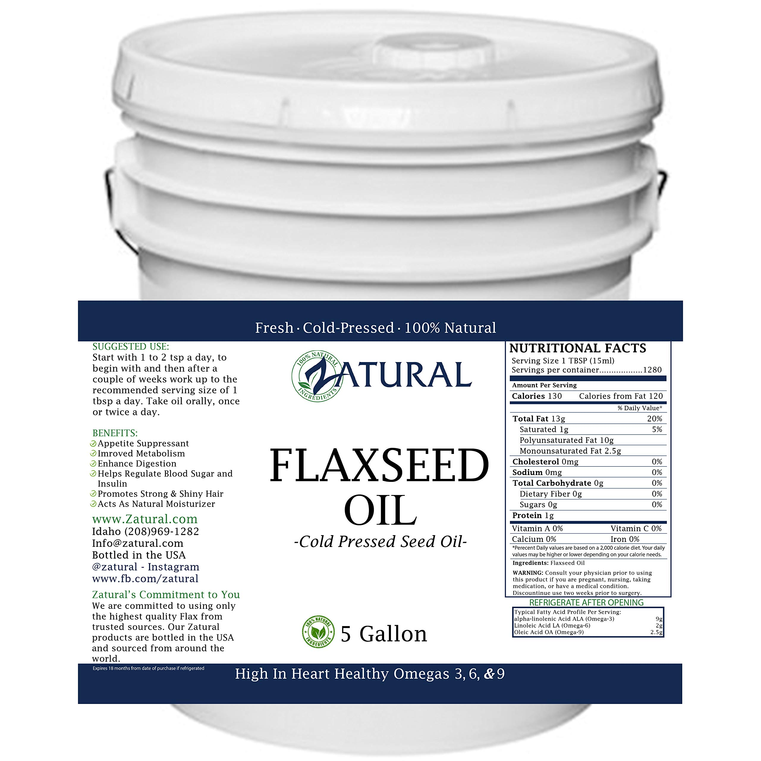 FlaxSeed Oil - 100% Pure Flax Seed Oil - 0 Additives - 0 Fillers - Cold Pressed (640 Ounce (5 Gallon)) by Zatural