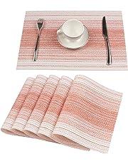Homcomoda Borlans Sets de Table lavables PVC Napperons dîner antidérapant résiste à la Chaleur Fait en Vinyle Lot de 6