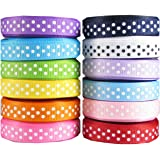 "Hipgirl 60 Yards 3/8"" Grosgrain Fabric Ribbon Set For Gift Package Wrapping, Hair Bow Clips & Accessories Making, Crafting, Sewing, Wedding Decor, Boy Girl Baby Shower-(12x5yd Swiss Polka Dot)"