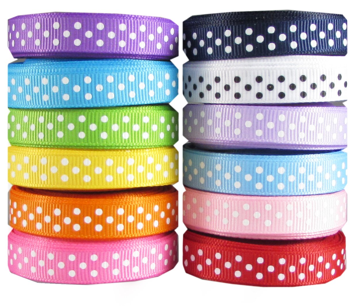 Polka Dot Ribbon for Crafts-Hipgirl 60 Yards 3/8'' Grosgrain Fabric Ribbon Set For Gift Package Wrapping, Hair Bow Clips & Accessories Making, Sewing, Wedding Decor, Boy Girl Baby Shower-(12x5yd Swiss)