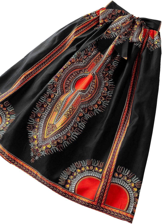 Shenbolen Women African Print Skirt Ankara Maxi Skirt Dashiki Skirt