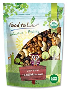 Organic Go Raw Trail Mix, 1 Pound - Raw and Non-GMO Snack Mix Contains Walnuts, Almonds, Cashews, Hazelnuts, and Raisins. Vegan Superfood, Kosher, No Added Sugar and Oil, Bulk