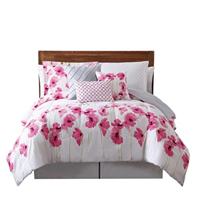 12 Piece Girls Pink White Floral Theme Comforter Queen Set, Beautiful All  Over Summers Garden